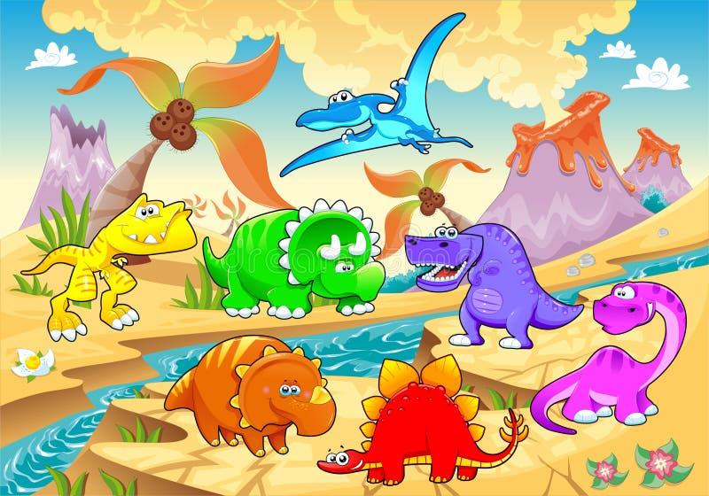 Arco-íris dos dinossauros na paisagem. ilustração stock