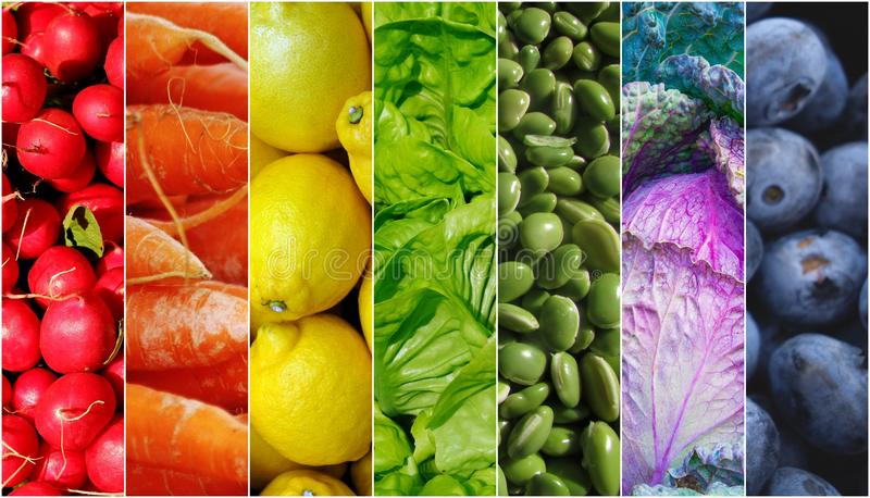 Arco-íris dos vegetais de frutos do alimento foto de stock royalty free