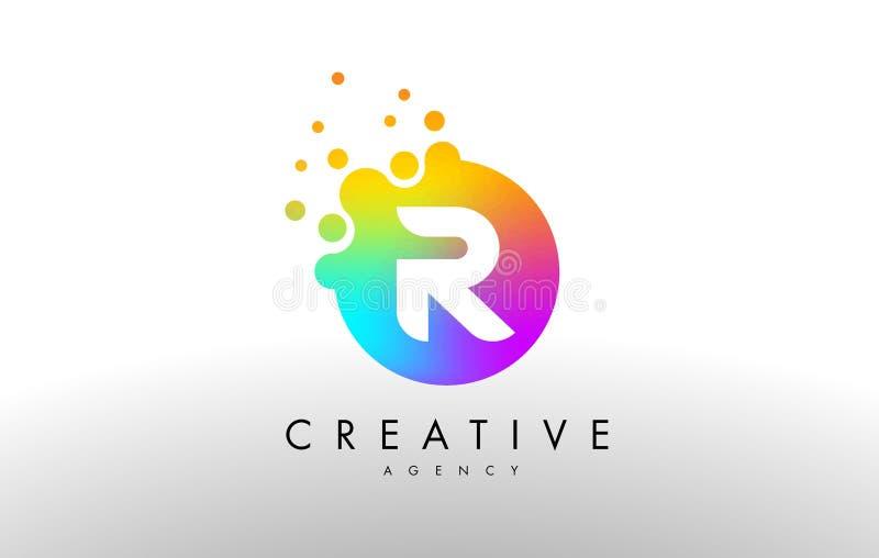 Arco-íris Dots Letter Logo de R Vetor do projeto de letra com D colorido ilustração do vetor