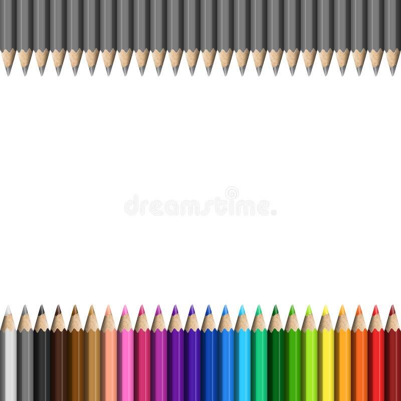 Arco-íris e Grey Template de para colorido realístico dos lápis/Pa ilustração royalty free