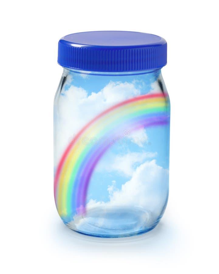 Arco-íris em um frasco fotos de stock