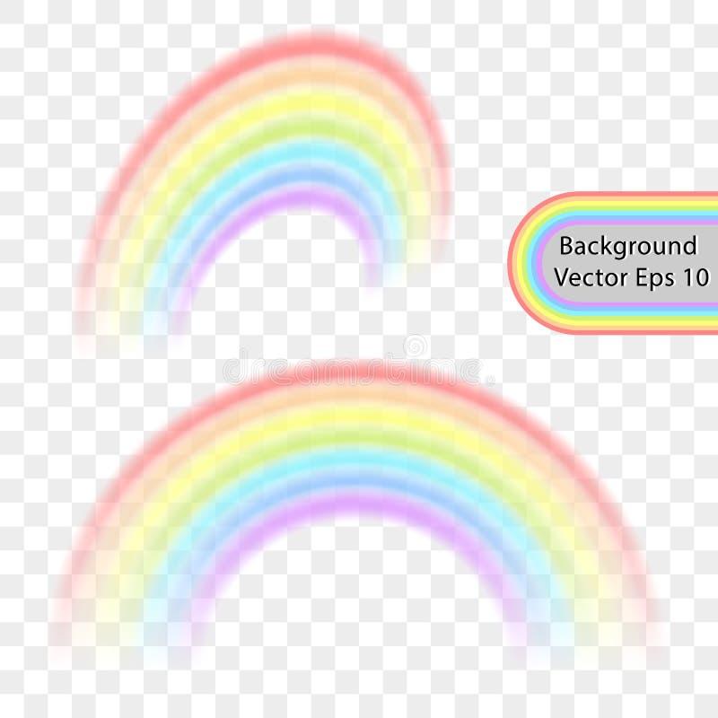 Arco-íris em um fundo transparente Efeito realístico do arco-íris sob a forma de um arco em uma paleta de cores delicada Vetor ilustração stock