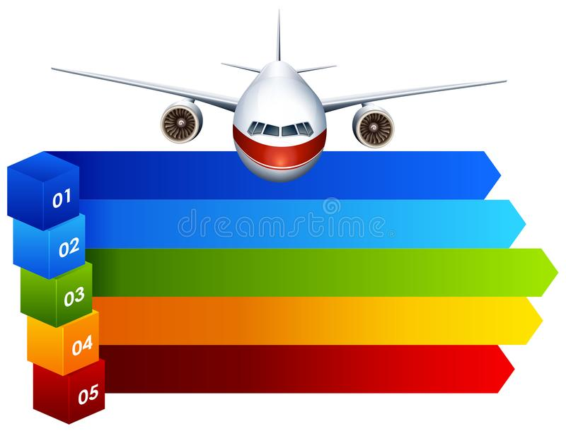 Arco-íris infographic com avião ilustração royalty free