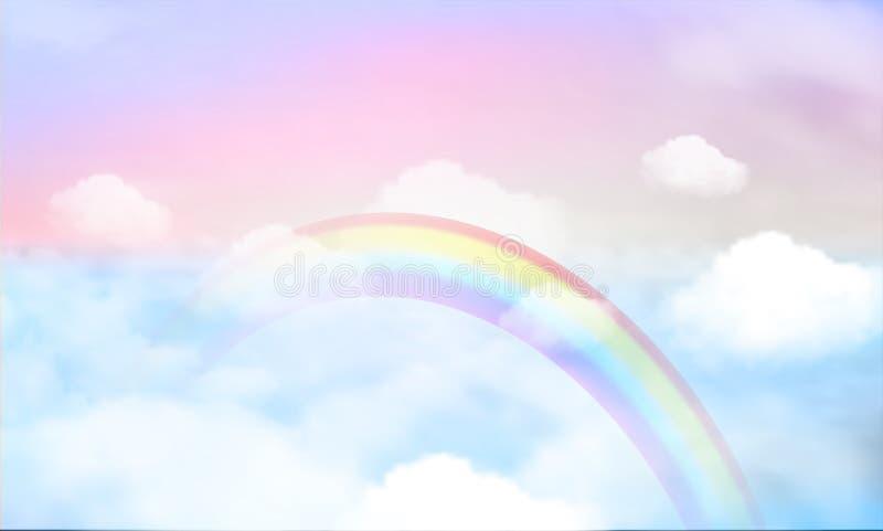 Arco-íris mágico da paisagem da fantasia no céu ilustração royalty free