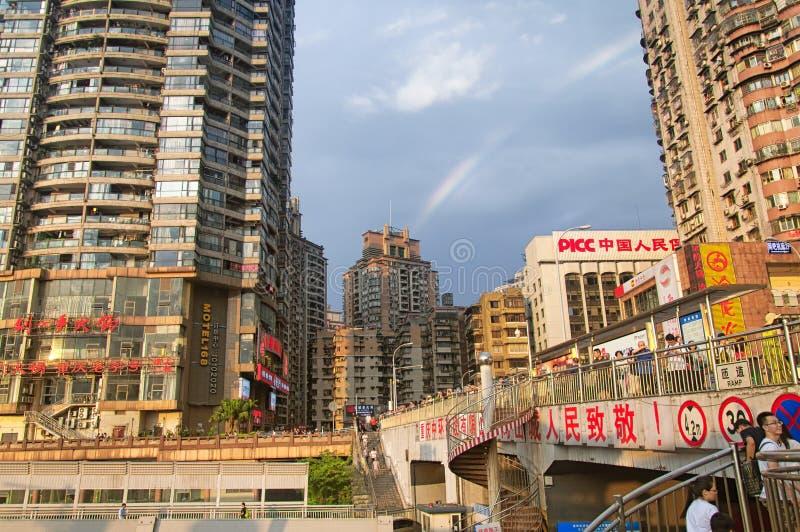 Arco-íris na cidade de Chongqing China imagens de stock royalty free