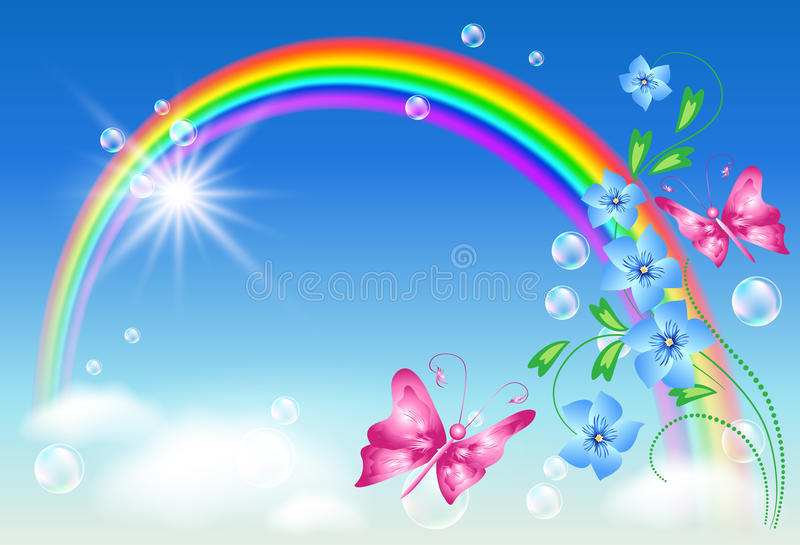Arco-íris no céu ilustração stock