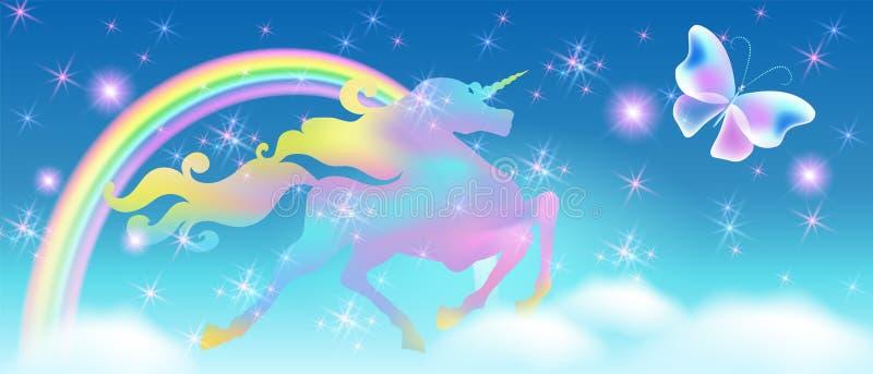 Arco-íris no céu e no unicórnio de galope com juba de enrolamento luxuoso na perspectiva do universo iridescente com ilustração stock