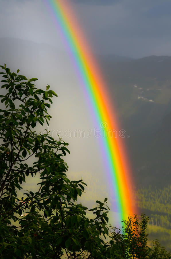 Arco-íris no vale fotografia de stock royalty free