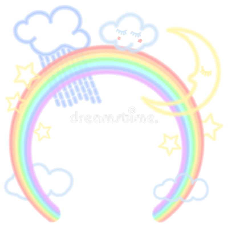 Arco-íris, nuvens, lua e estrelas da iluminação fluorescente ilustração royalty free