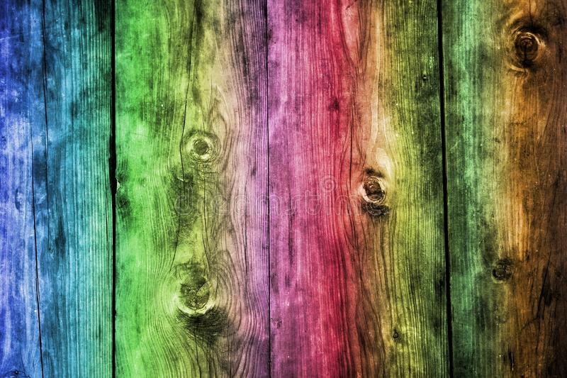 Arco-íris ou fundo de madeira colorido, papel de parede imagem de stock