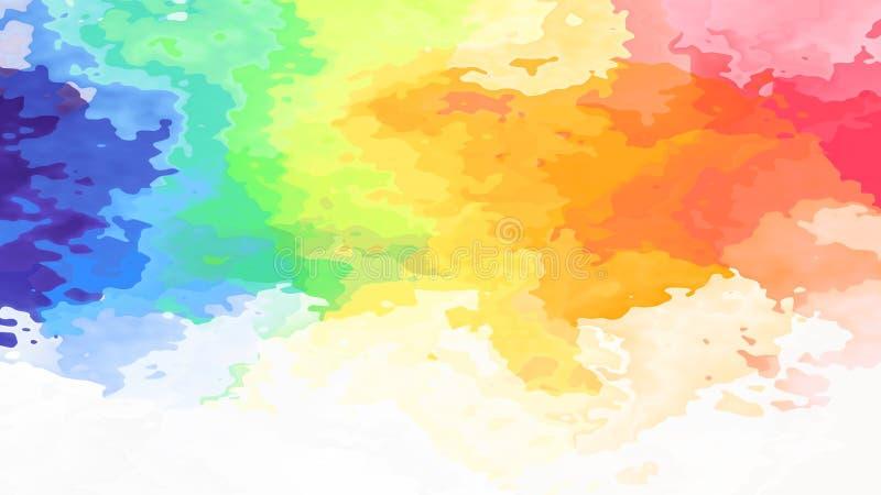 Arco-íris pastel claro manchado abstrato do espectro de cor completa do fundo do retângulo do teste padrão - arte de pintura mode ilustração do vetor