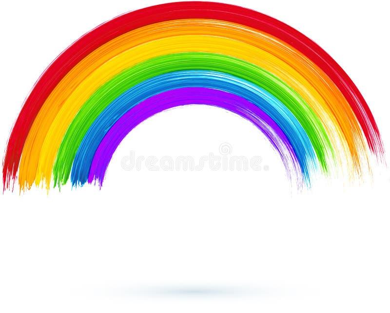 Arco-íris pintado acrílico, ilustração do vetor ilustração do vetor