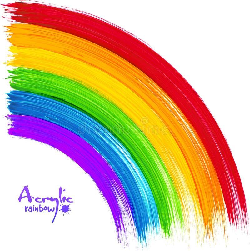 Arco-íris pintado acrílico, imagem do vetor ilustração do vetor