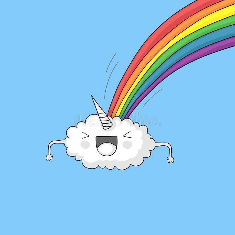 Arco-íris pooping da nuvem do unicórnio ilustração do vetor