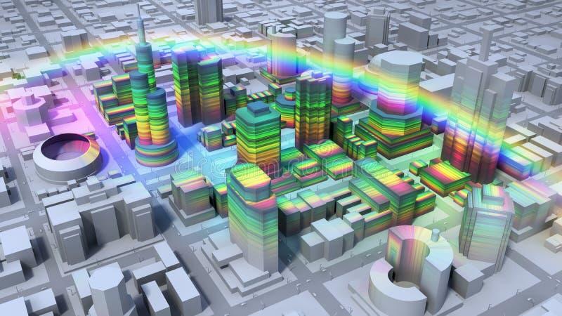 Arco-íris sobre a cidade ilustração royalty free