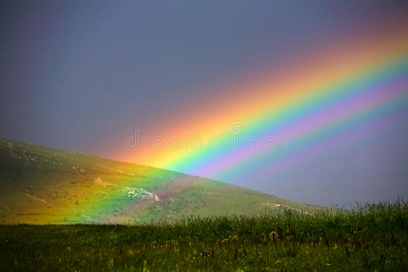 Arco-íris sobre a grama arquivada fotografia de stock royalty free