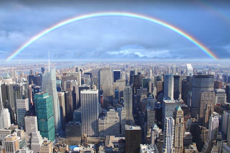 Arco-íris sobre Manhattan New York fotografia de stock royalty free