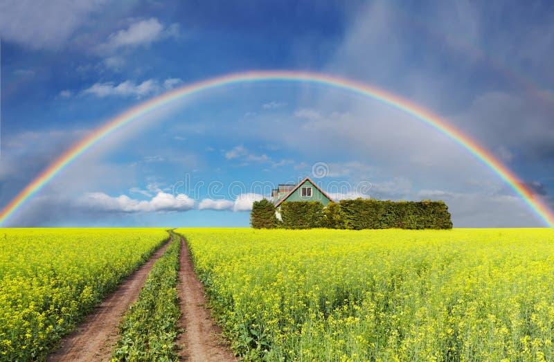 Arco-íris sobre o campo fotos de stock royalty free