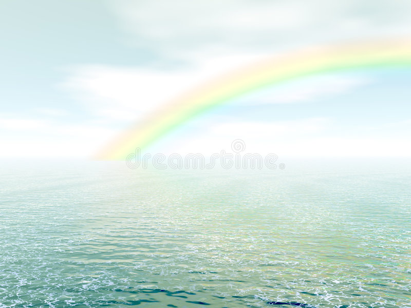 Arco-íris sobre o mar ilustração stock