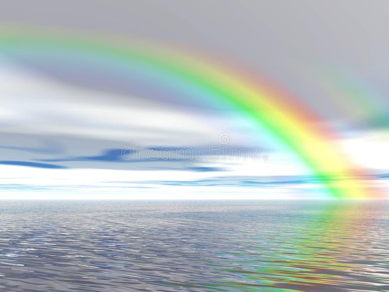 Arco-íris sobre o oceano ilustração royalty free