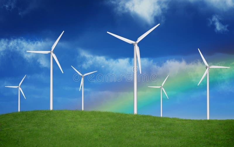 Arco-íris sobre Windfarm foto de stock