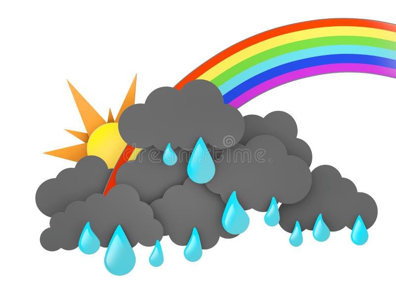 Arco-íris, Sun e Rainclouds com gotas no fundo branco ilustração 3D ilustração stock