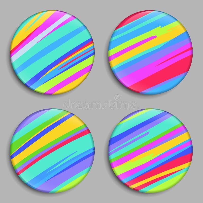Arco-íris Teclas da cor Botões do arco-íris 3D Vetor ilustração do vetor