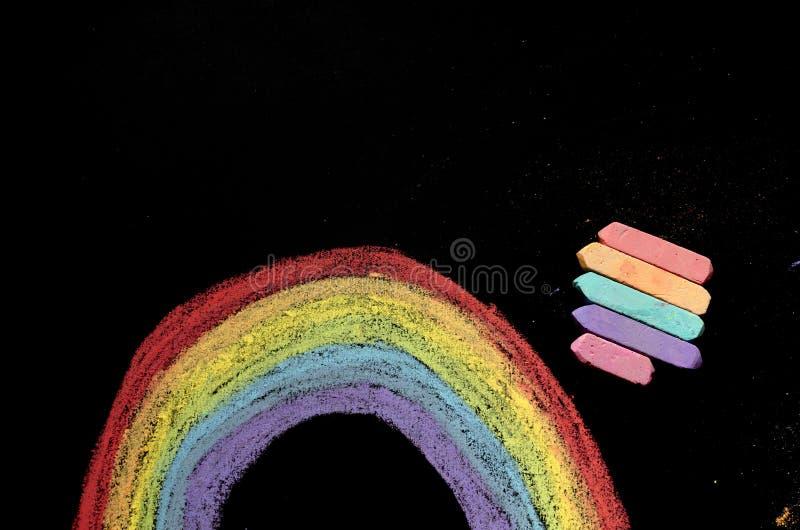Arco-íris tirado no quadro imagem de stock