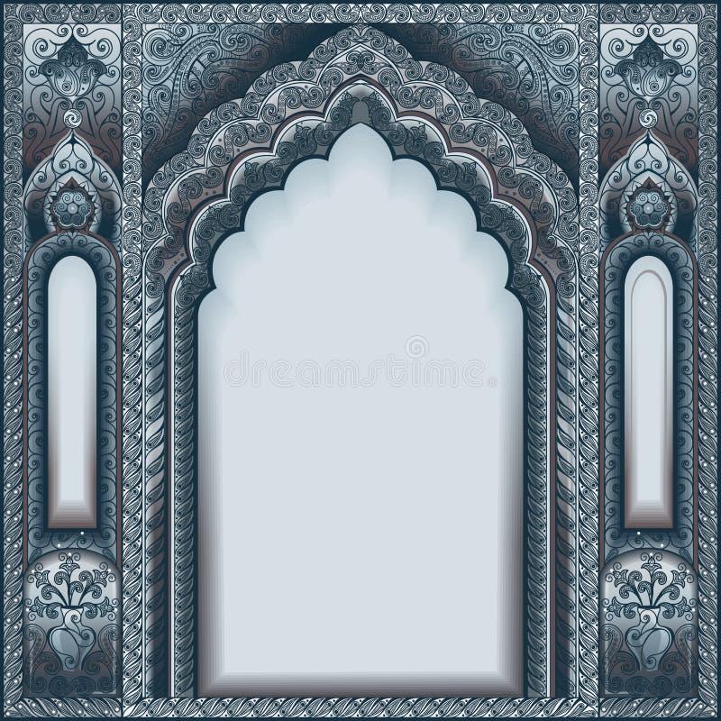 Arco adornado indio Plata del color ilustración del vector
