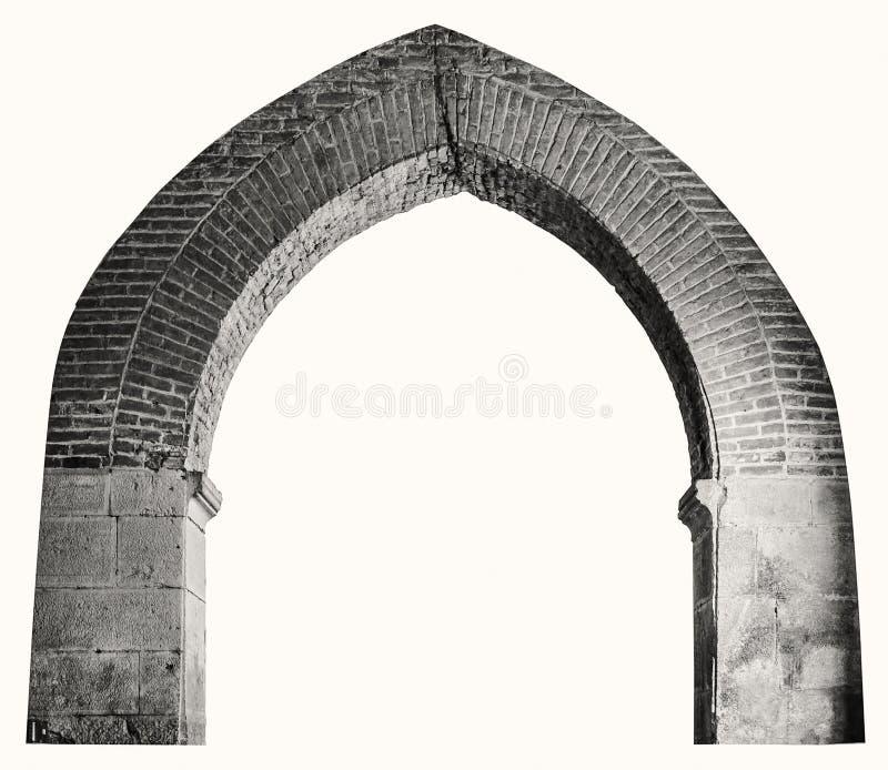 Arco aguzzo del mattone in un monastero antico del benedettino immagini stock libere da diritti