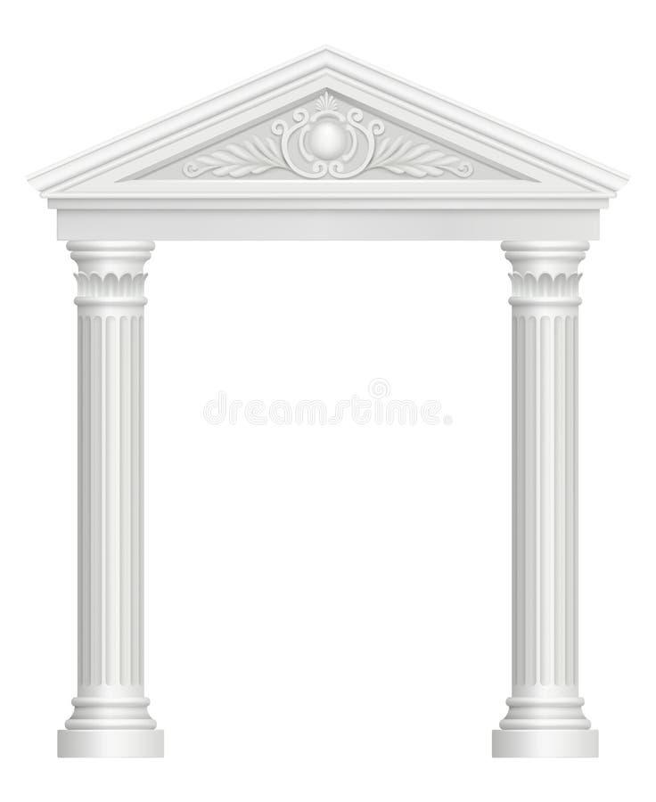 Arco antigo Do vetor barroco arquitetónico do estilo da entrada do palácio da colunata imagens realísticas ilustração stock