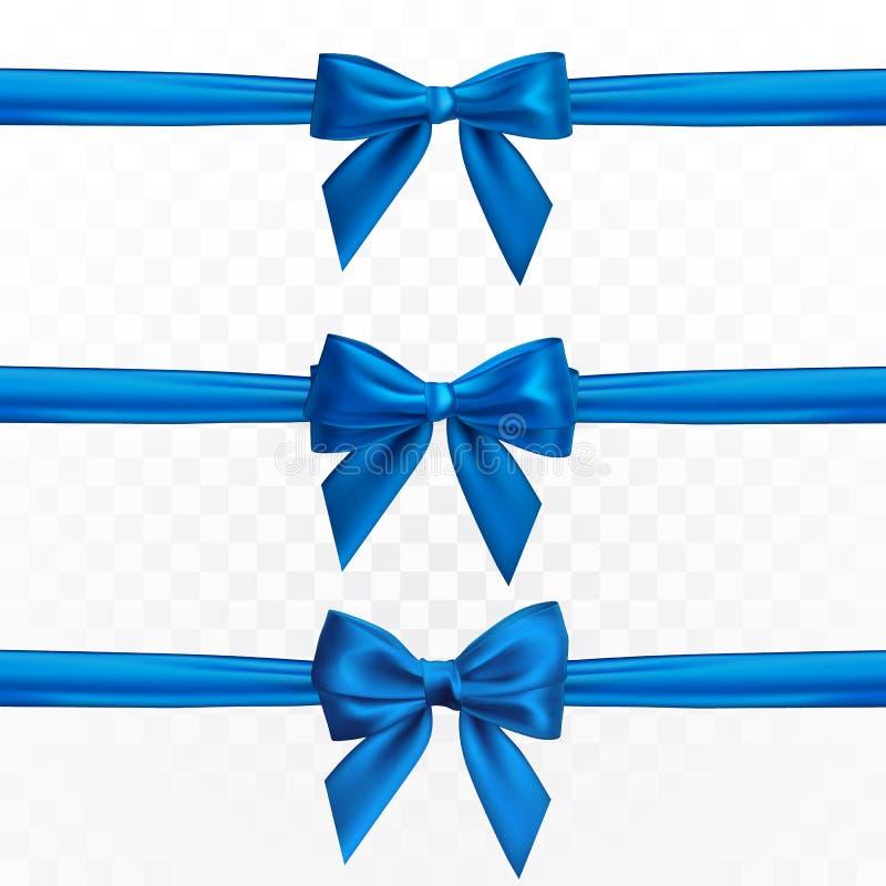 Arco azul realista Elemento para los regalos de la decoración, saludos, días de fiesta Ilustración del vector stock de ilustración