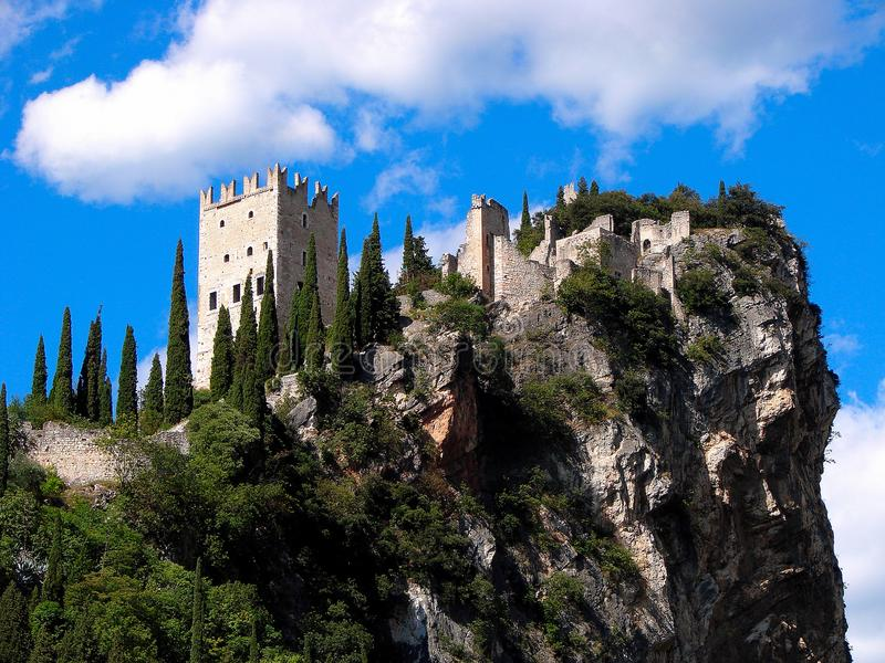 Arco and the Arco Castel are situated at the heart of the northern Lake Garda region surrounded by the mountains. By a lush park, the Arboretum, it hosts exotic stock images