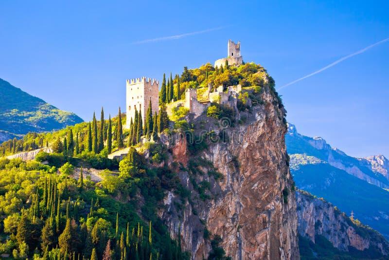 Arco castle on high rock view. Sarca Valley, Trentino Alto Adige region of Italy stock photos