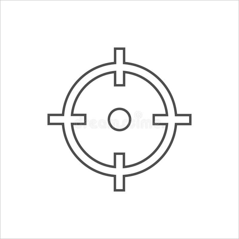 Arco, centro, foco, icono de la blanco Ejemplo del vector, diseño plano stock de ilustración