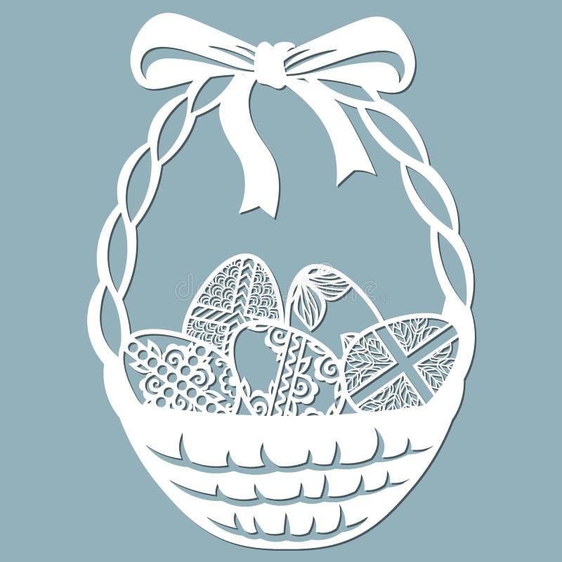 Arco, cesta, cruz, hojas, flores, talladas en huevo Ilustración del vector Huevos de Pascua por los días de fiesta de Pascua Fije stock de ilustración