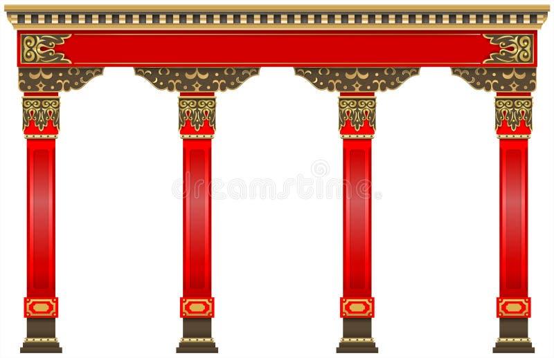 Arco cinese orientale Colonne rosse scolpite dell'oro royalty illustrazione gratis
