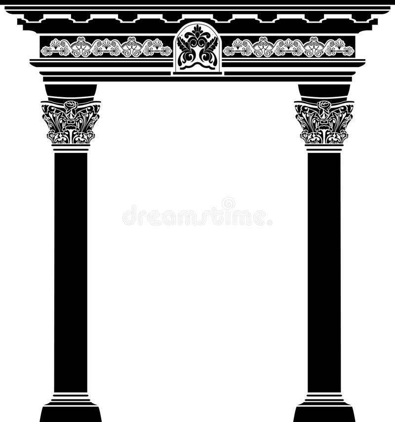 Arco clássico com coluna do fiigree ilustração do vetor