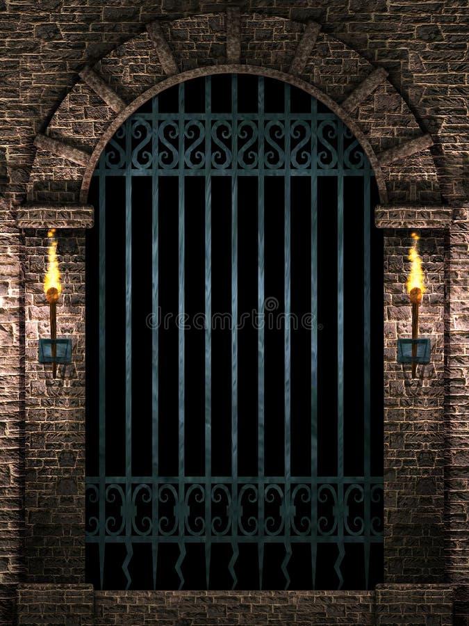 Arco com porta do ferro ilustração do vetor
