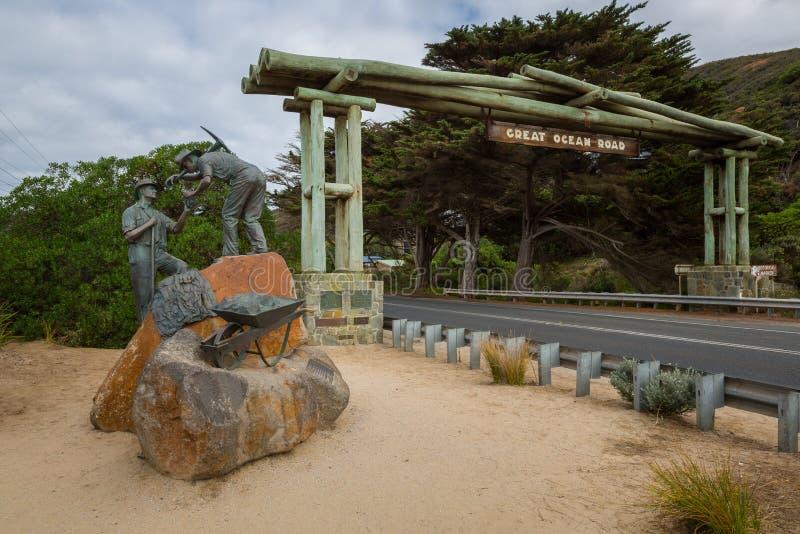 Arco commemorativo della grande strada dell'oceano alla vista orientale fotografia stock libera da diritti