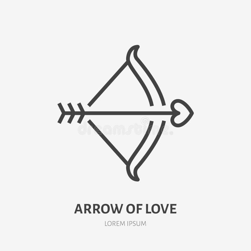 Arco con la línea plana icono de la flecha y del corazón r Ejemplo del día de tarjetas del día de San Valentín stock de ilustración