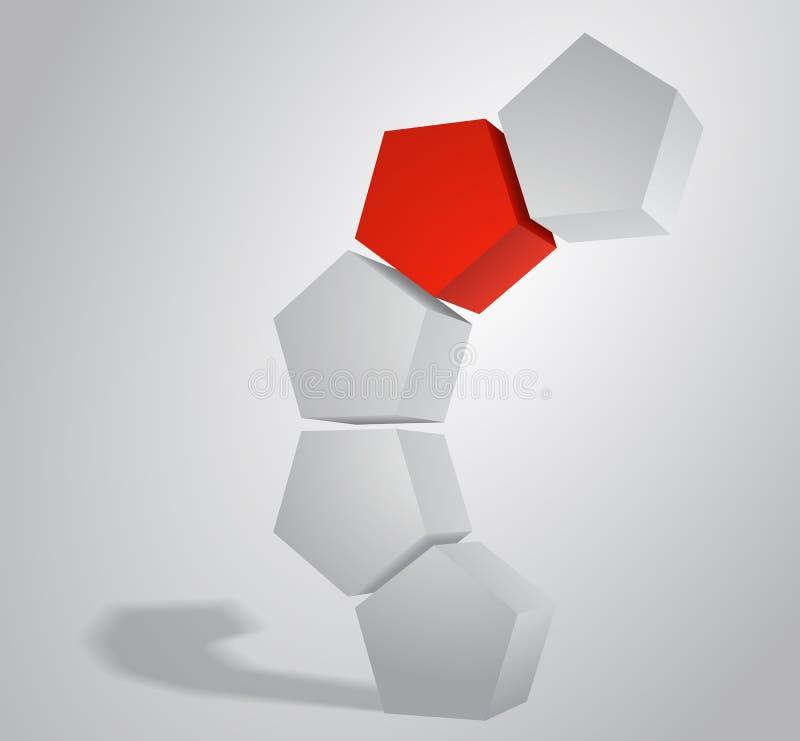 arco 3D do Pentaprism pentagonal de prisma, ilustração do vetor. ilustração stock