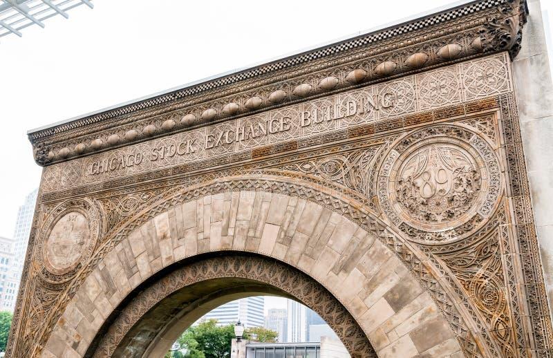 Arco da entrada da bolsa de valores de Chicago fotos de stock