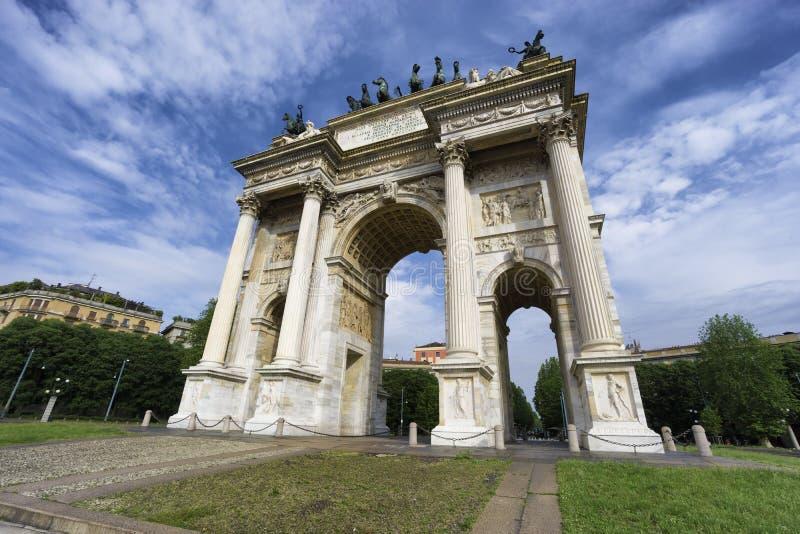 Arco da paz, Milão, Itália fotos de stock