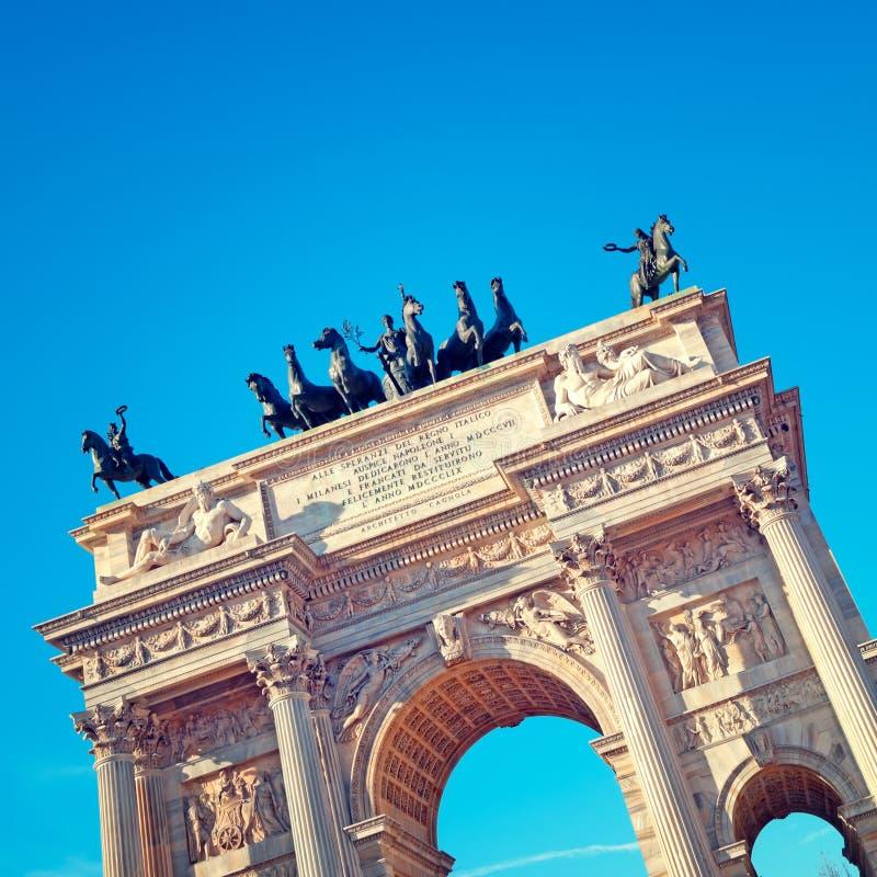 Arco da paz, Milão Italy imagem de stock