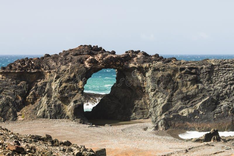 Arco da rocha, Fuerteventura fotografia de stock