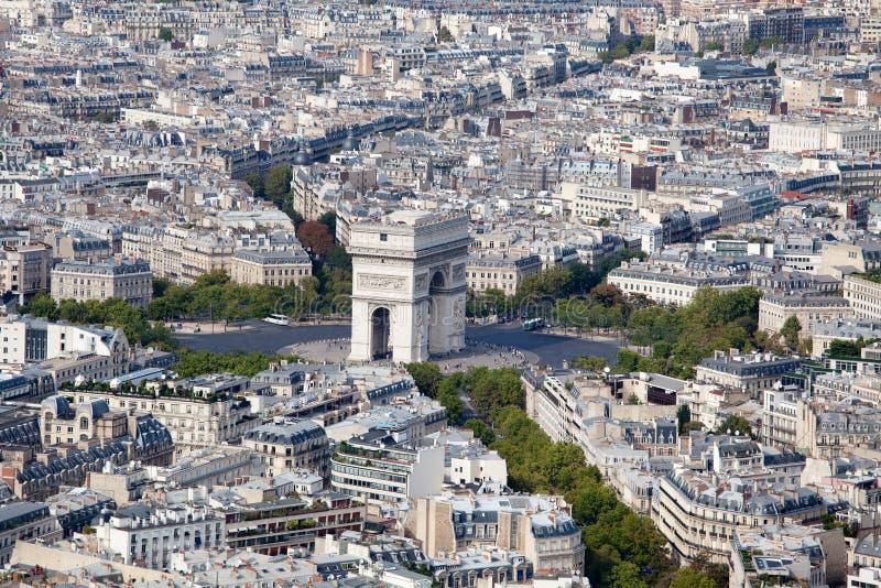 Arco da vista superior do triunfo e do Etoile Paris quadrada fotografia de stock