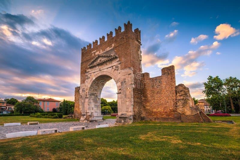 Arco de Augustus em Rimini foto de stock
