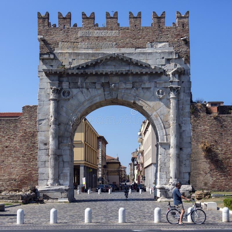 Arco de Augustus - Rimini - Itália fotografia de stock