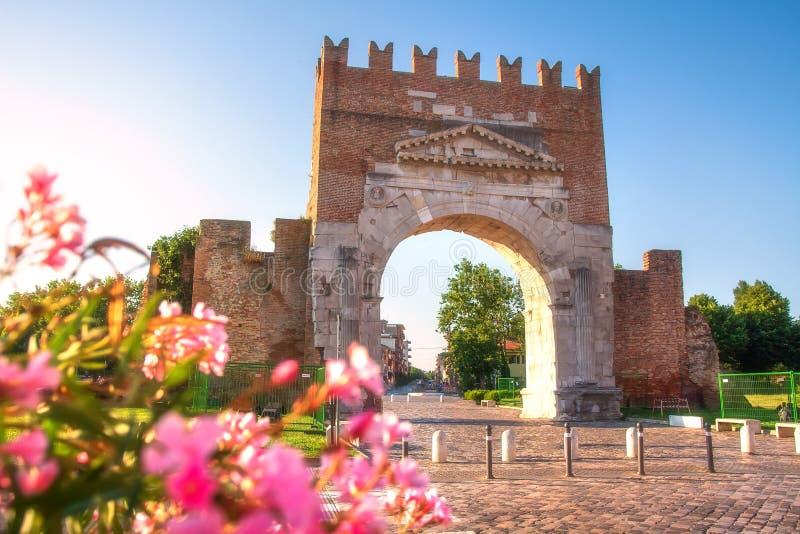 Arco de Augustus Rimini, It?lia Roman Triumphal Arch o mais idoso famoso foto de stock